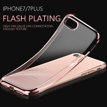 Three segment 3D laser engraving plating mobile phone protective shellTransparent TPU soft shell case for iPhone7plus