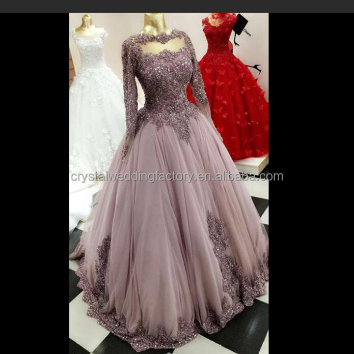 Sparkly Beaded 2017 Tulle Floor Length Puffy Long Ball Gown Lace Long Sleeve Muslim Prom Dress MP981