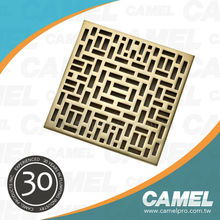 9319 2015 Rose Square Rectangular Design Decorative Polished Surface Brass Bathroom Floor Drain