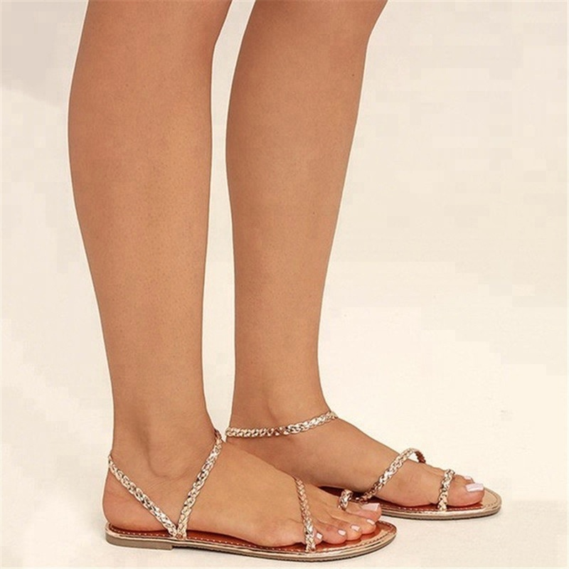 Good Quality and Hot Sale Women Flat PU Leather <strong>Sandal</strong>