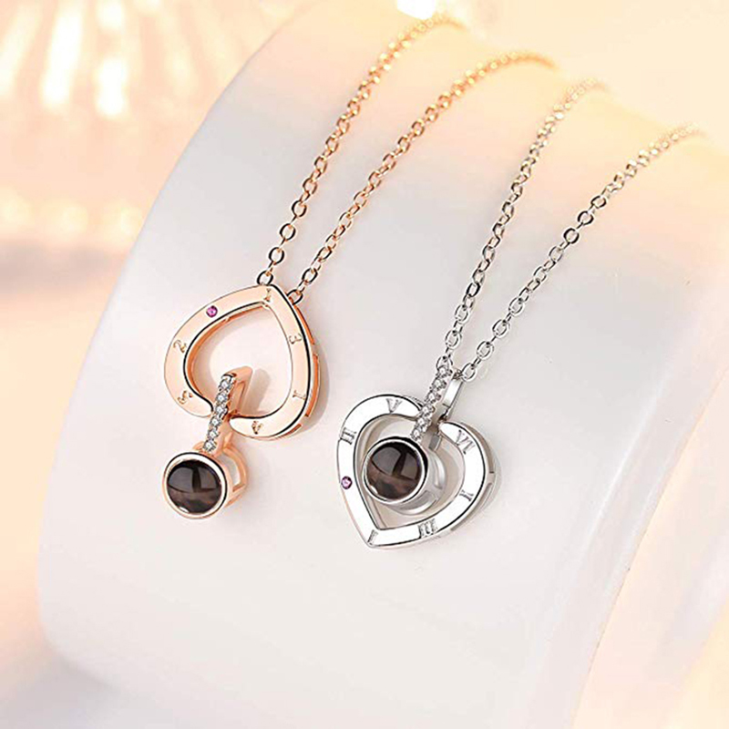 2019 Gemstone Rose Gold Fashion Jewelry 100 Languages Projection Onyx Pendant Love Memory Collarbone Wedding Necklace For women