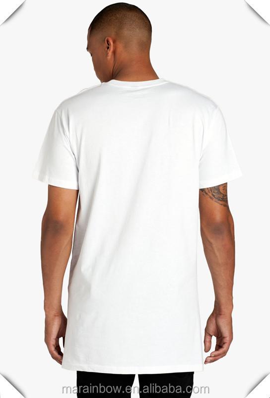Street wear high quality 100 cotton white plain mens long for Long line short sleeve t shirt