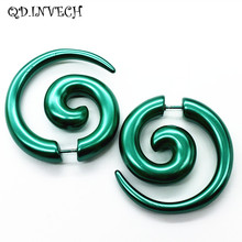 Fancy Green Acrylic Spiral Fake Tapers Expander Ear Tunnels Plugs Piercing
