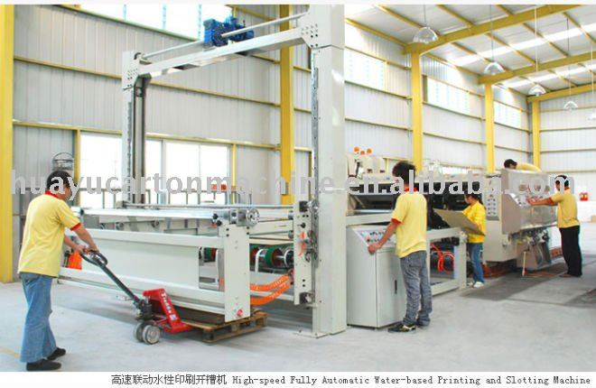 HY-DU series of high-level flexo printer and slotter die cutter machine with sheet stacker(Vaccum model)
