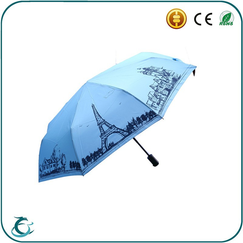 wholesale promotion low cost automatic 3 folding creative rian umbrella