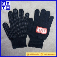 Black or blue cotton knitted working gloves with PVC dots on palm