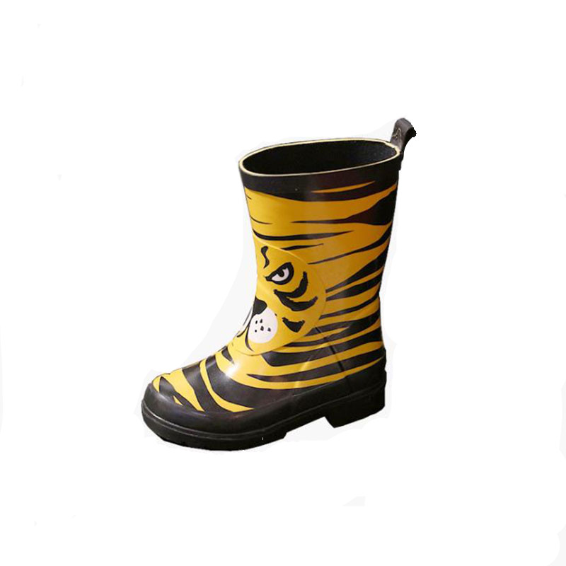 2017 New design Children Rubber Rain Boots Printing Tiger Pattern Cute Boy Girl Baby Kids Waterproof Shoes