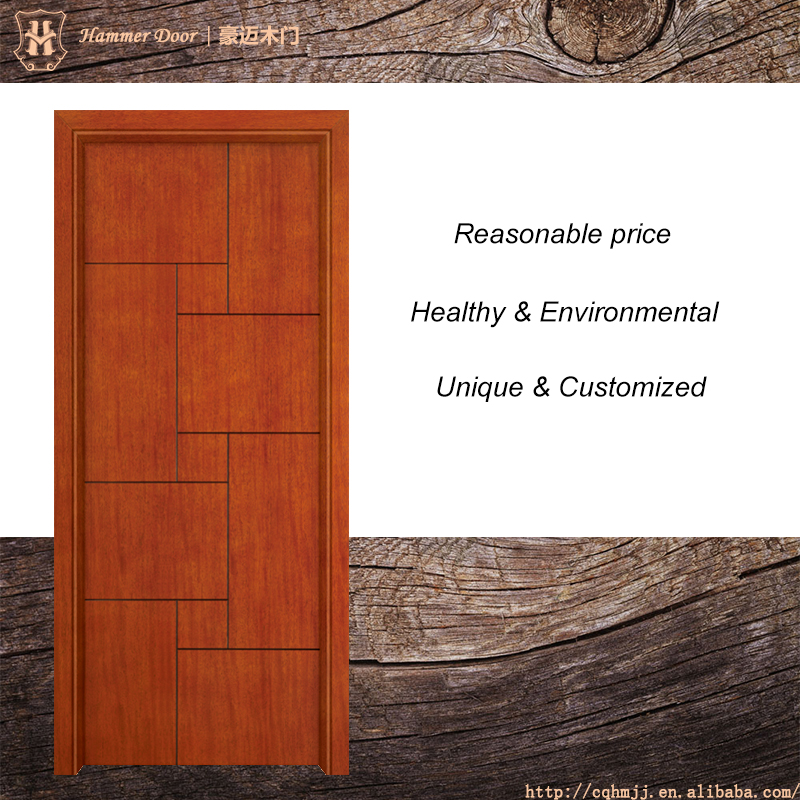 Cherry wood double leaf swing panel door design