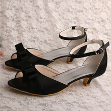 Wedopus Black Bow Wedding Shoes Sandals Low Heel