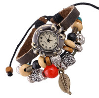 Cute style watch retro handmade leather bracelets wrist watch Watch of wrist of red beads