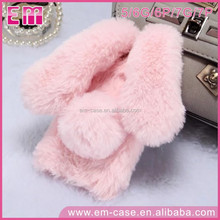 Long Ears Rabbit Phone Cover With Plush Tail Soft TPU Phone Shell For iPhone5 6 6P 7 7P Diamond Hole Case
