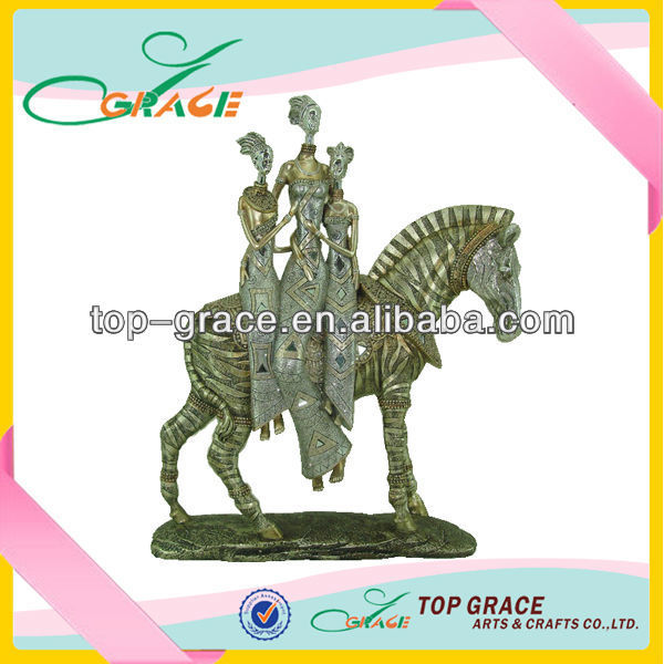 Polyresin horse home decoration with women