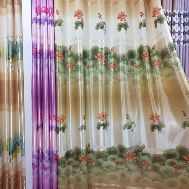 Factory wholesale ready stock oriental curtain fabric printing on fabric