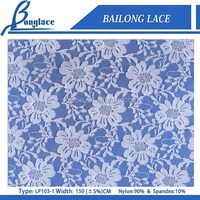 Latest Design Spandex Stretch Blue Lace Fabric For Dress Garment