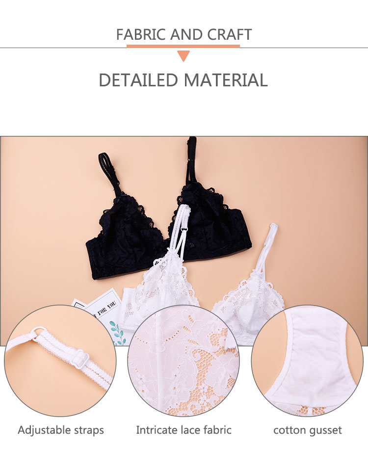 2017 double layer wholesale lace bralette with floral trim