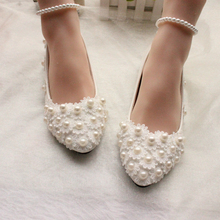 BK07 Women party shoes 2018 elegant new model lace pearls wedding shoes