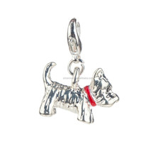 Stunning Silver Colored Dog With Red Collar Shaped Clip On Pendant Charm For Bracelets Bangles
