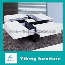 Europe style hot sale MDF coffee table with drawer (factory manufactuer)
