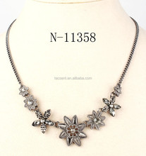 Gun metal plated alloy stars shape necklace with rhinestones, beautiful alloy rhinestone necklace