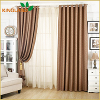 100% Polyester Fancy Linen Look Blackout Fabric Luxury Hotel Curtain Design