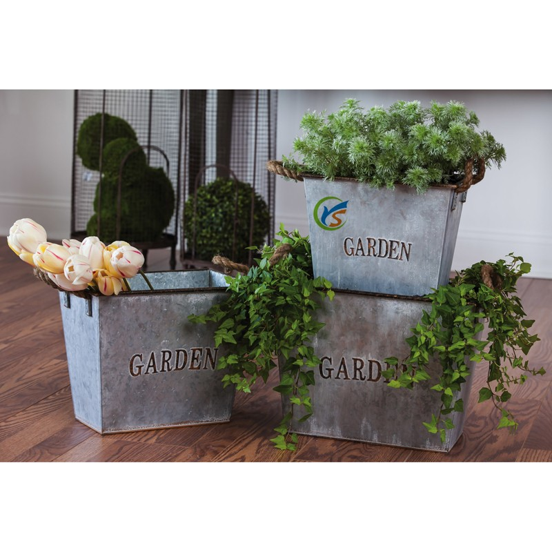 3 Piece Set Large Metal Garden Planter
