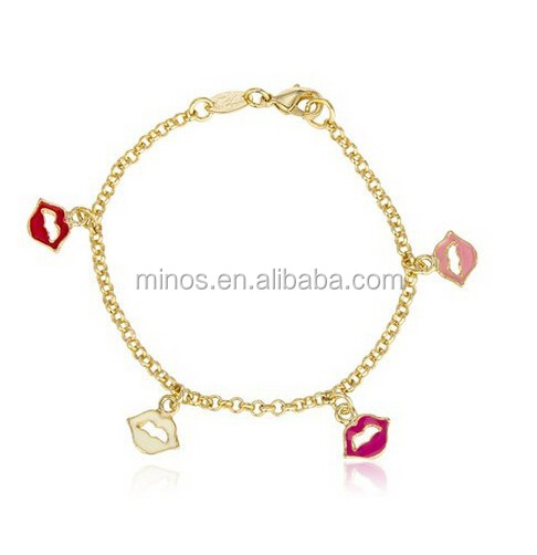 Fashion Jewelry Bracelet, Gold Filled Multi Color Lips 6 Inch Link Charm Bracelet