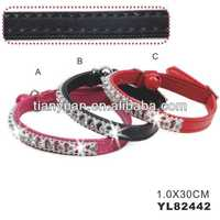 PU fashing cat collars with diamond (YL82442)