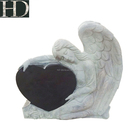Natural Monument Headstone Black Granite Angel Tombstone for USA Market