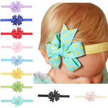 Wholesale High Quality Hair Accessories Baby Elastic Bowknot Headband Bow Fashion Round Dot Decorated Baby Headband