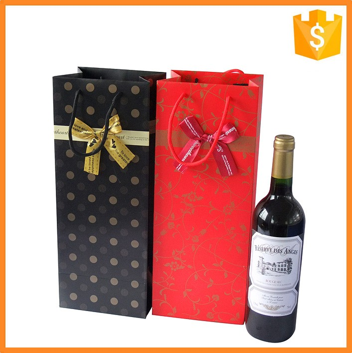 Art paper printing making wine bottle paper bag and wine paper bag supplier