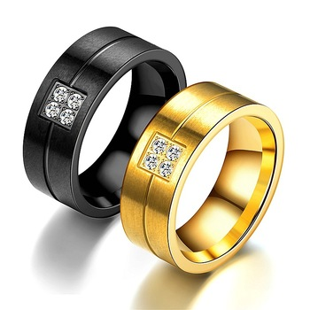 Fashion Stainless Steel Jewelry Black and Gold Stone Ring For Women and Men Wholesale