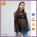 customize black blouse designs cutting,high quality ladies fashion blouse
