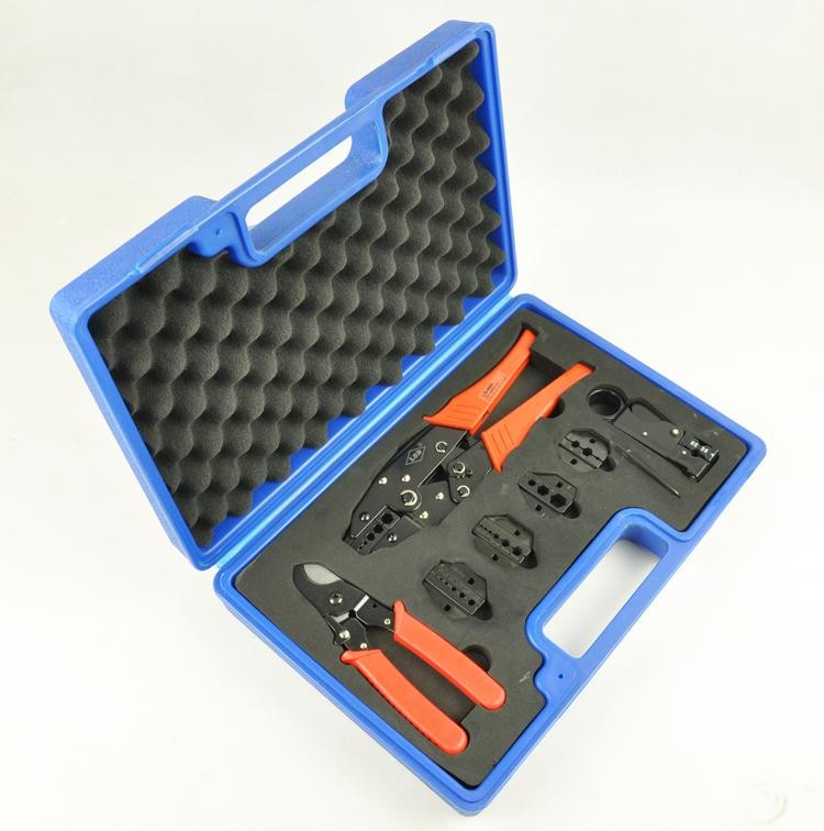 LS-05H-5A2 crimping tool kit with terminal crimper,cable cutter,wire stripper and press tool die sets 7pcs hand tool sets