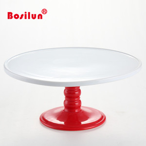 Manufacture price ceramic white plate cake stands wholesale