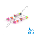 New design surgical steel cheap tongue rings with silicone balls wholesale