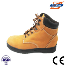 Yellow boot of security safety shoe for wokers with rubber outsole