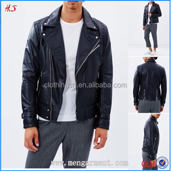 Wholesale Hotsell New Product PU Men Leather Jackets With Metal Zip-Through Front