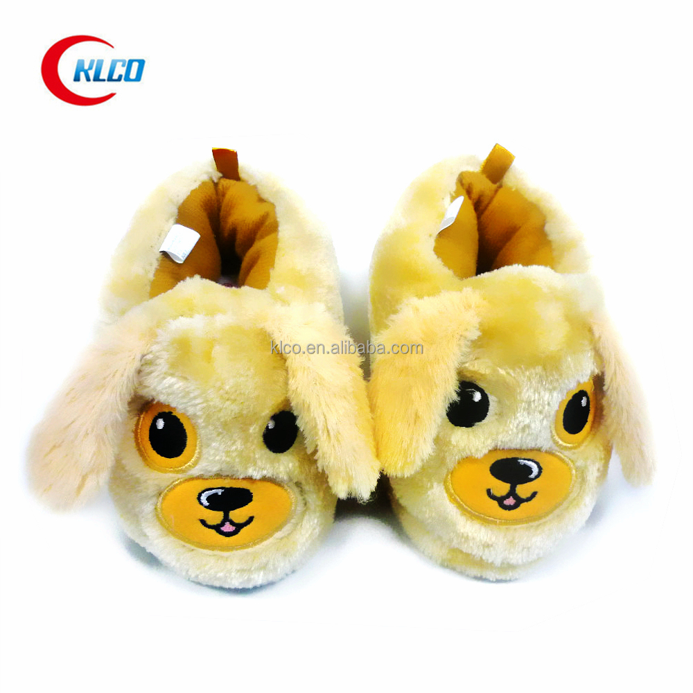 cheap wholesale kid's fancy plush quiet animal indoor slipper