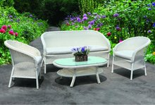 White Wicker Sofa Set for Outdoor Garden