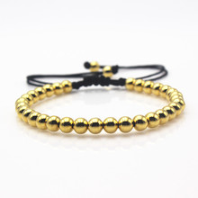 Mr Jewelry Adjustable Nylon Rope String 6mm Stainless Steel Gold Bead Bracelet