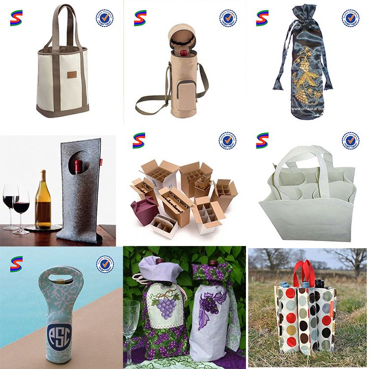 Wine Bottle Gift Bags Pattern Thermos Cooler Bag For Wine