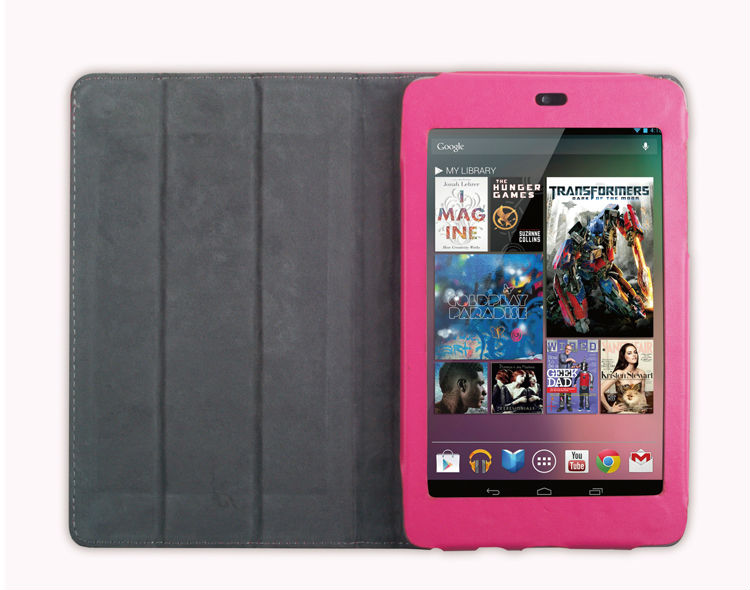 Pink Smart Cover Slim Magnetic PU Leather Case for Google Nexus 7Inch Tablet