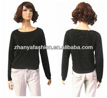 Lady's fancy pullover knitwear with foil pritn dots