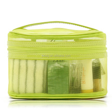 make up bags,Green nylon mesh cosmetic bag with handle,travel cosmetic bag.