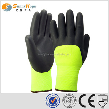 sunny hope 3/4 coated cheap nitrile winter smooth coated glove safety gloves
