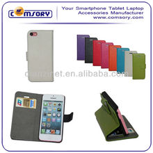 High Quality Stand Leather Phone Case Horizontal with Credit Card Slots & Holder for iPhone 5 5C Paypal Acceptable