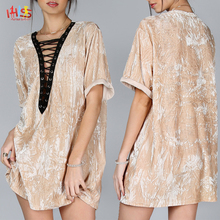 2017 Fashion Women Dresses Contrast Lace Up Plunge Neck Crushed Velvet Tee Dress