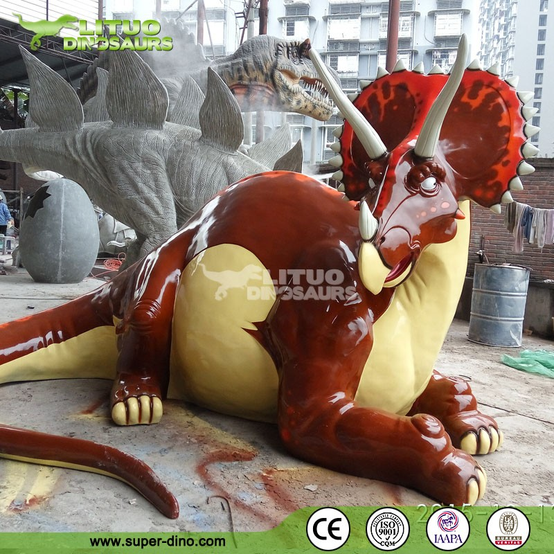 Large Cute Cartoon Figures Dinosaur Statue For Mini Golf Decoration