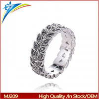 2017 Latest Silver Leaves Ring Denmark Style Jewelry Diamond Ring Leaves For Wedding Jewelry