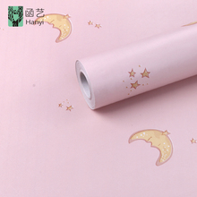Moon and star designs wallpaper kids bedroom self adhesive cartoon wallpaper